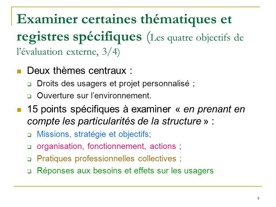 Examiner certaines thématiques et registres spécifiques (Les quatre objectifs de l'évaluation externe, 3/4)