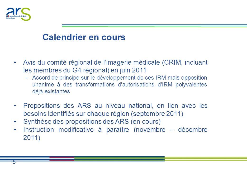 Calendrier en cours Avis du comité régional de l'imagerie médicale (CRIM, incluant les membres du G4 régional) en juin 2011.