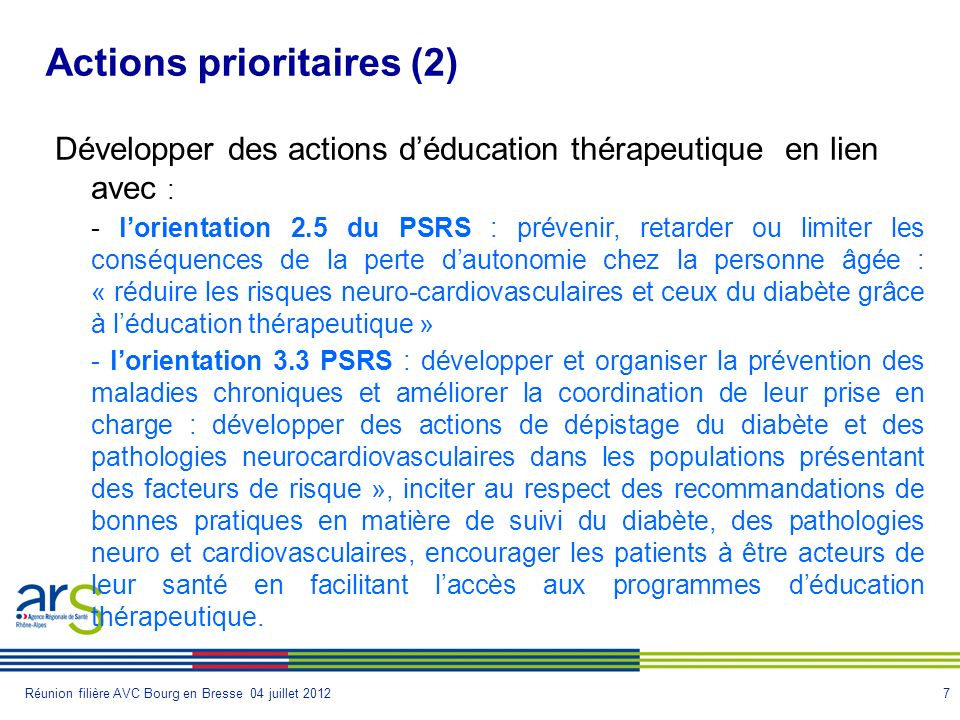 Actions prioritaires (2)