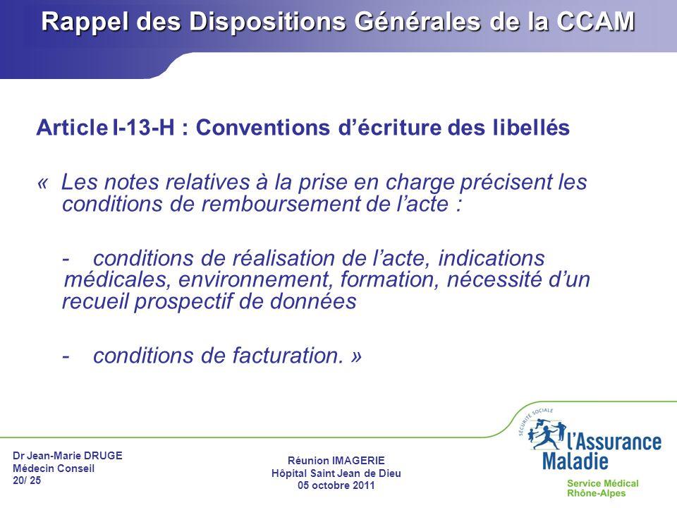 Rappel des Dispositions Générales de la CCAM
