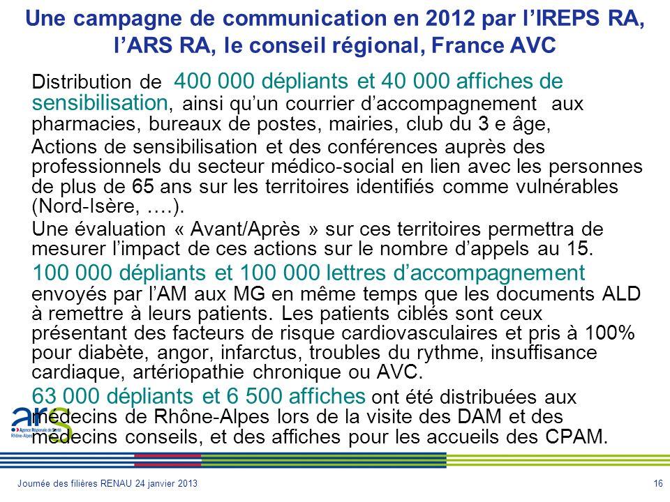 Une campagne de communication en 2012 par l'IREPS RA, l'ARS RA, le conseil régional, France AVC