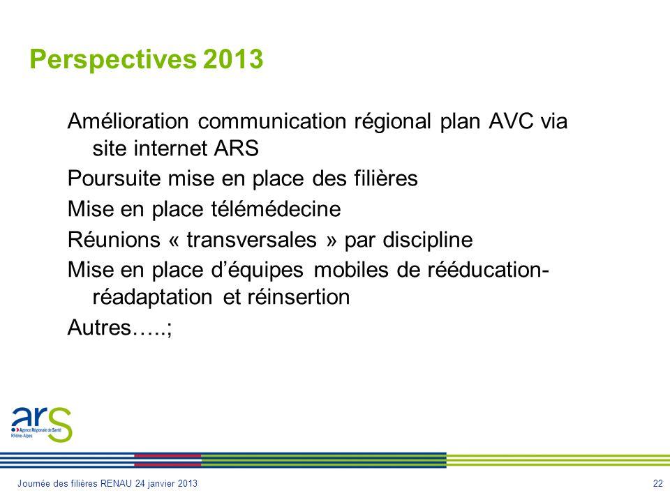 Perspectives 2013 Amélioration communication régional plan AVC via site internet ARS. Poursuite mise en place des filières.