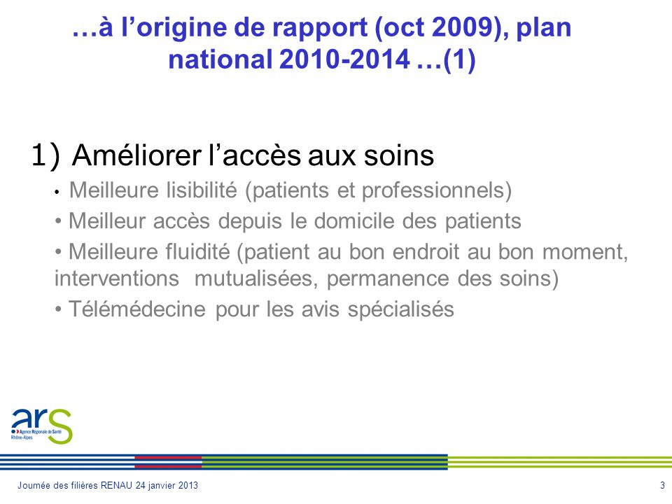 …à l'origine de rapport (oct 2009), plan national 2010-2014 …(1)
