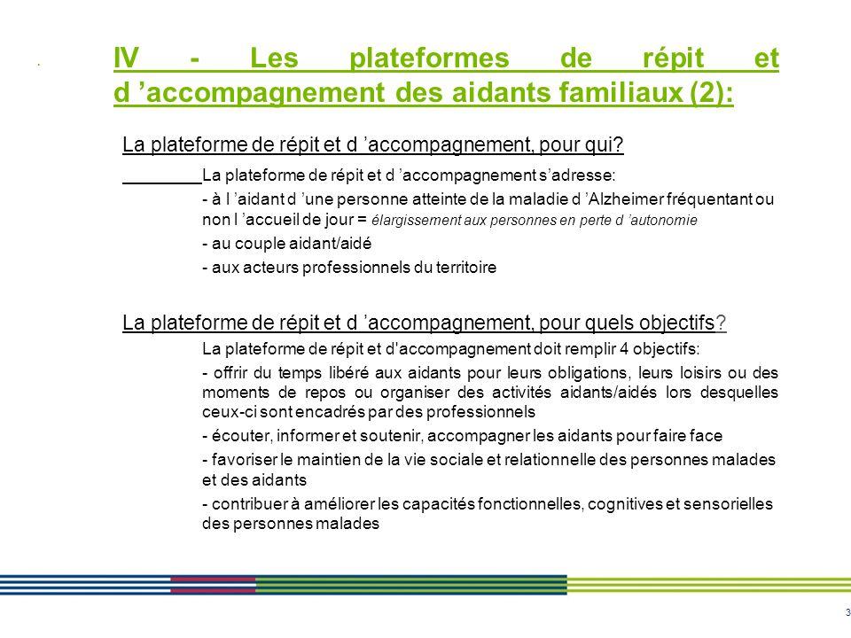 IV - Les plateformes de répit et d 'accompagnement des aidants familiaux (2):