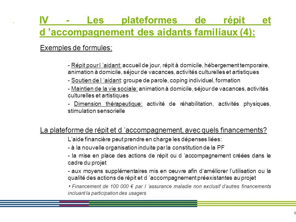 IV - Les plateformes de répit et d 'accompagnement des aidants familiaux (4):