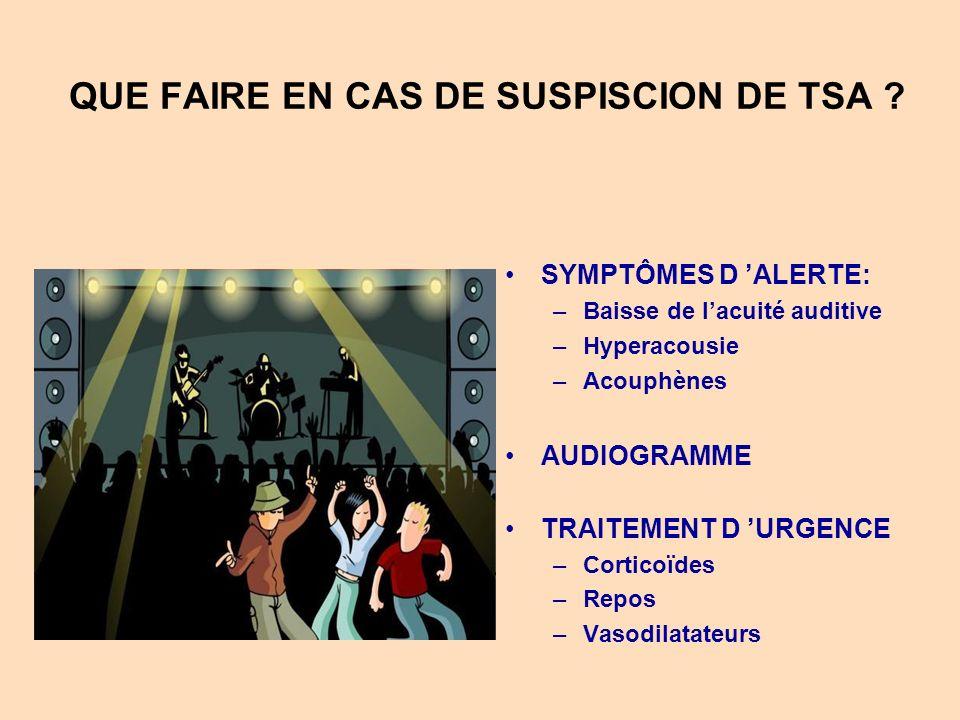 QUE FAIRE EN CAS DE SUSPISCION DE TSA
