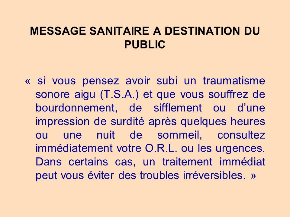 MESSAGE SANITAIRE A DESTINATION DU PUBLIC