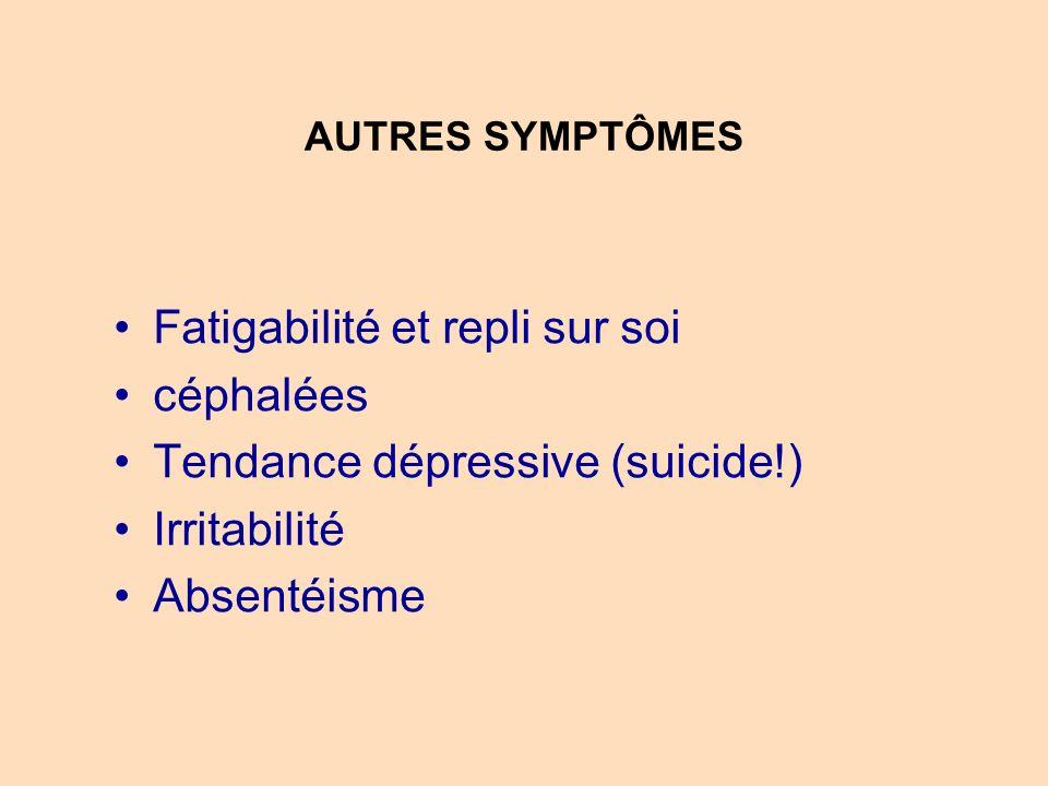 Fatigabilité et repli sur soi céphalées Tendance dépressive (suicide!)