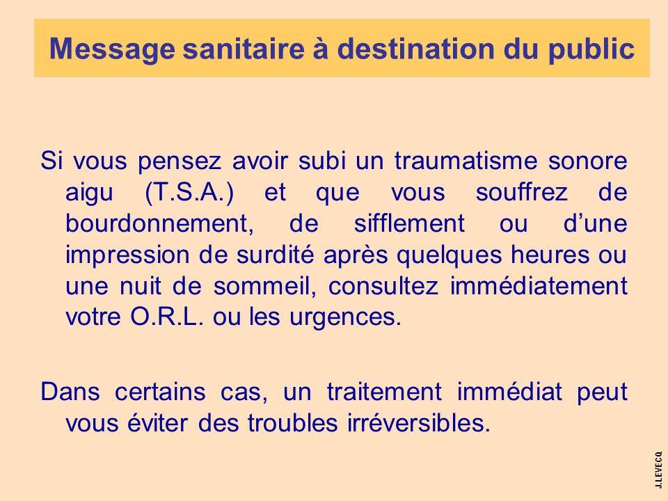 Message sanitaire à destination du public