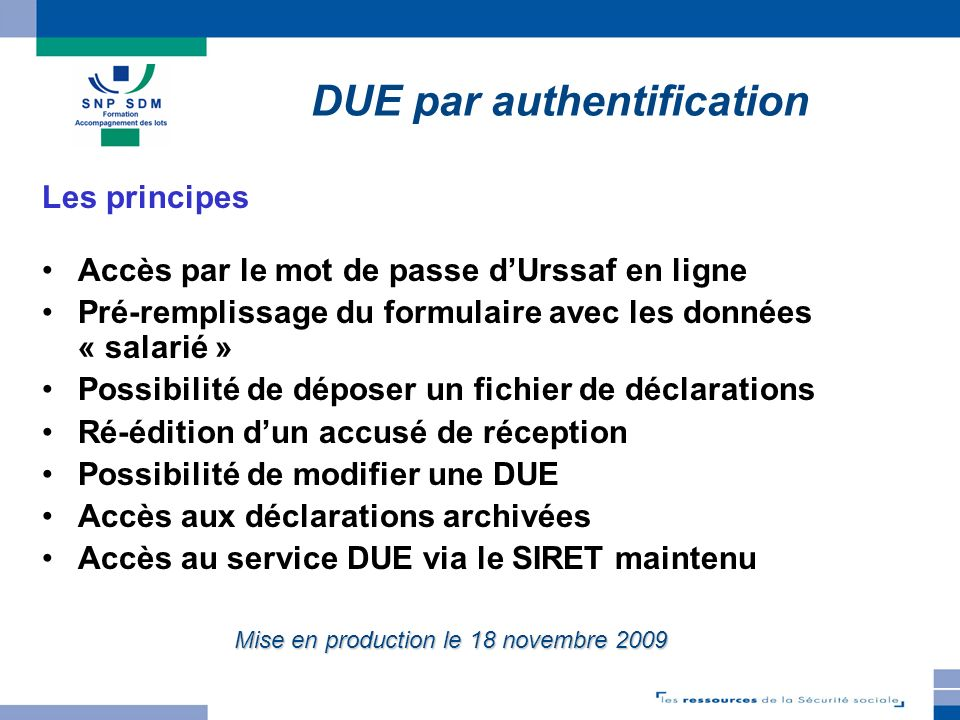 DUE par authentification