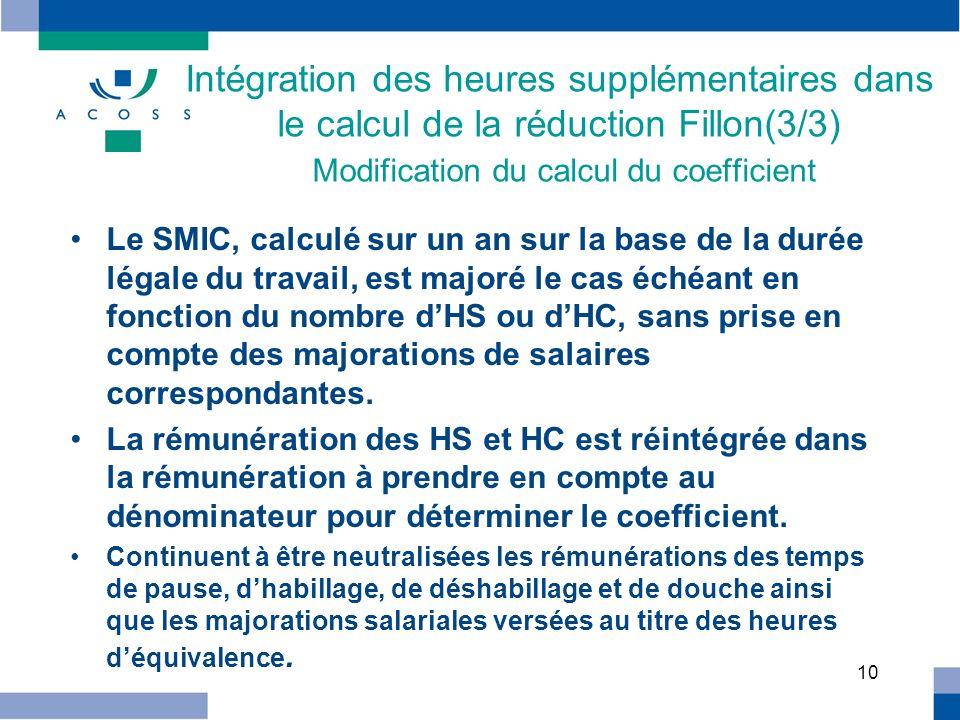 Intégration des heures supplémentaires dans le calcul de la réduction Fillon(3/3) Modification du calcul du coefficient