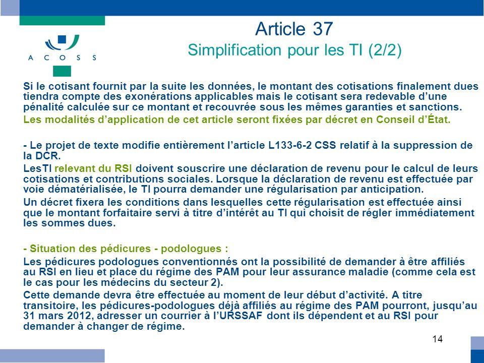 Article 37 Simplification pour les TI (2/2)