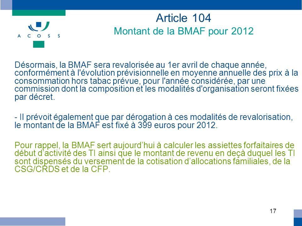 Article 104 Montant de la BMAF pour 2012