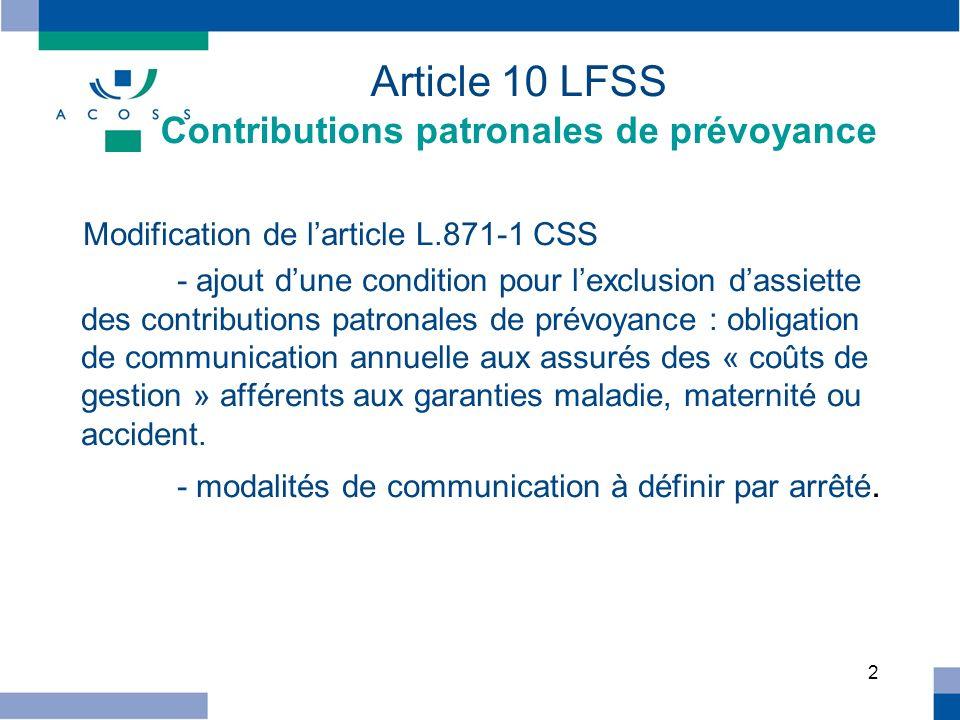 Article 10 LFSS Contributions patronales de prévoyance
