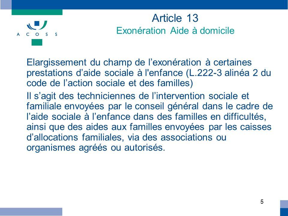 Article 13 Exonération Aide à domicile