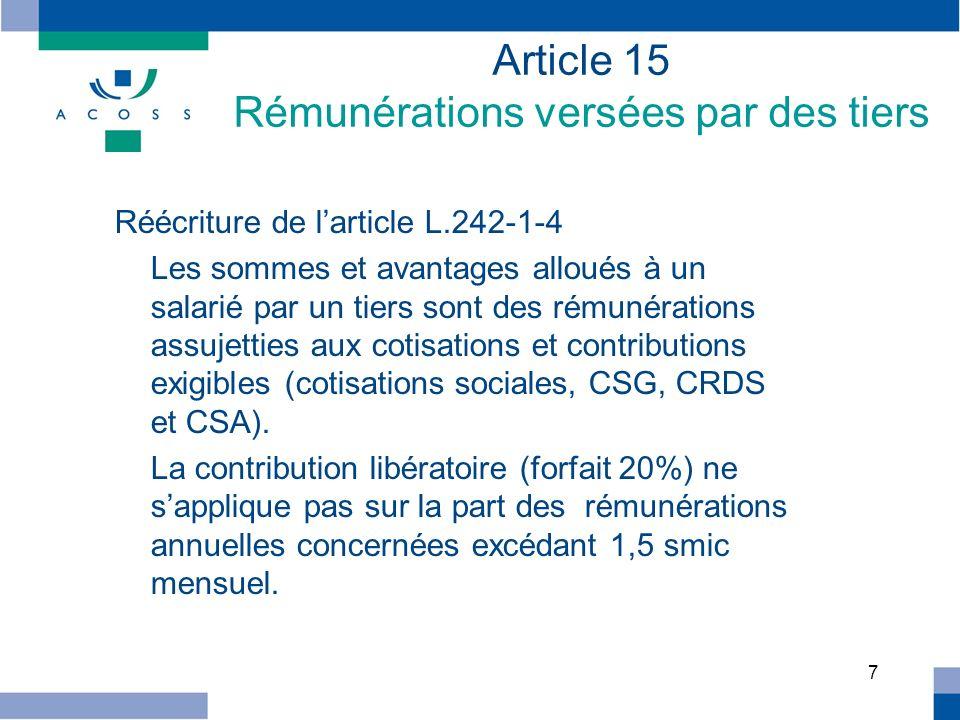 Article 15 Rémunérations versées par des tiers