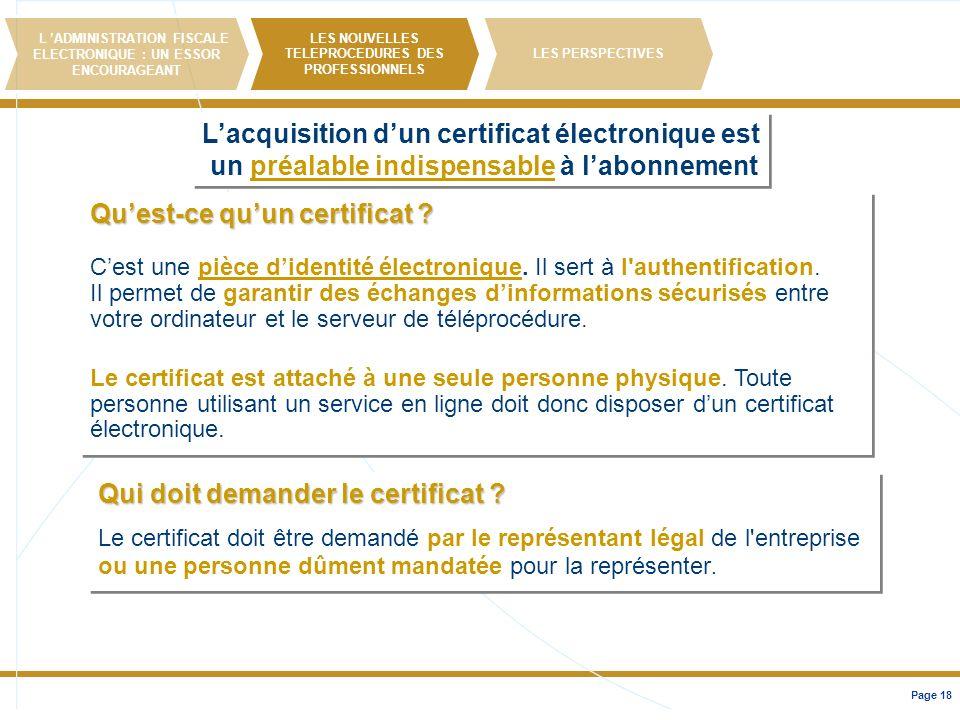 L'acquisition d'un certificat électronique est