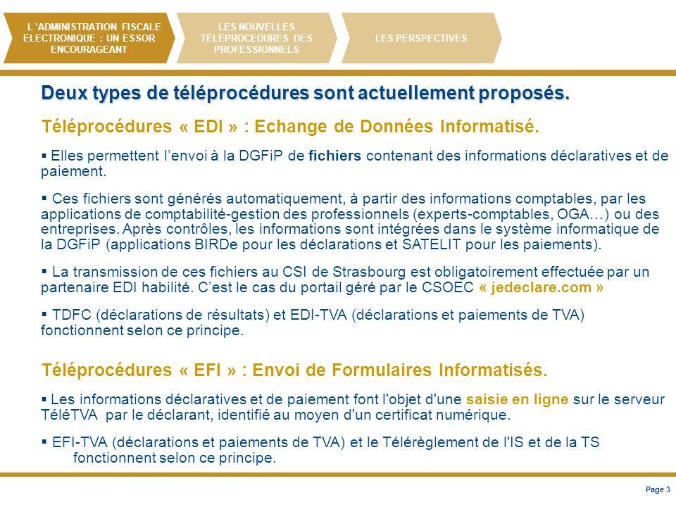 Deux types de téléprocédures sont actuellement proposés.