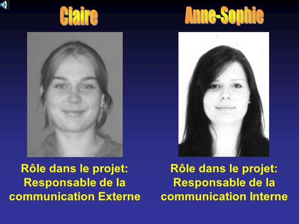 Claire Anne-Sophie. Rôle dans le projet: Responsable de la communication Externe.