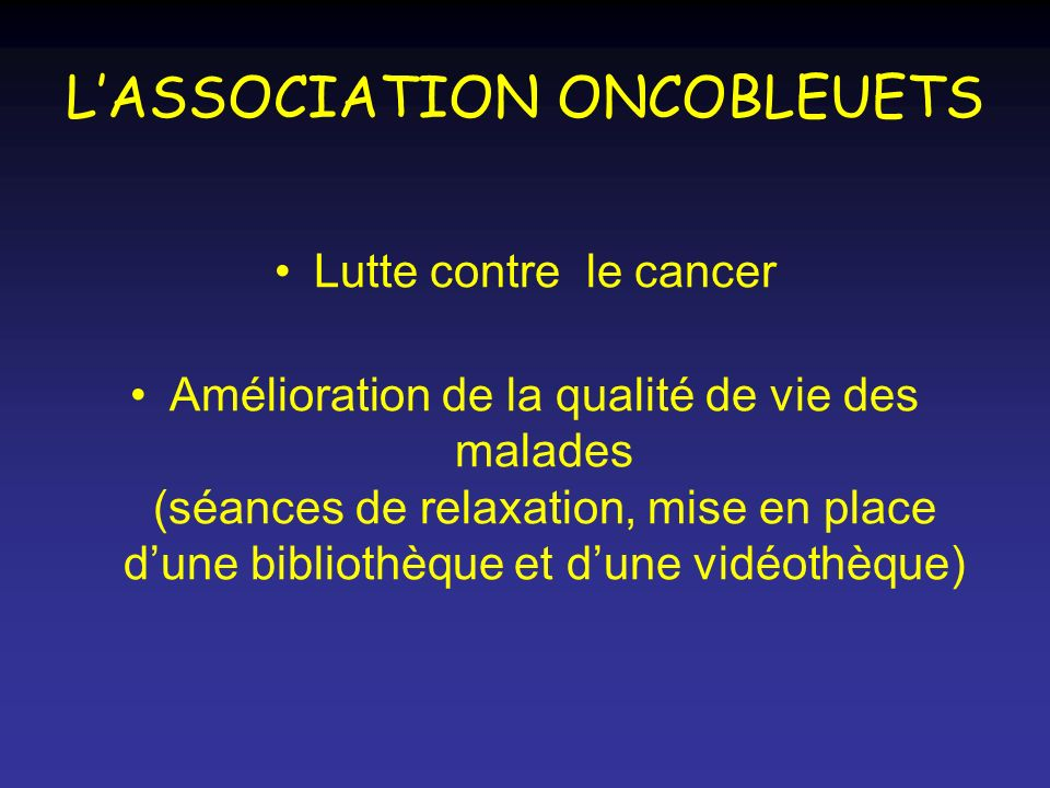 L'ASSOCIATION ONCOBLEUETS