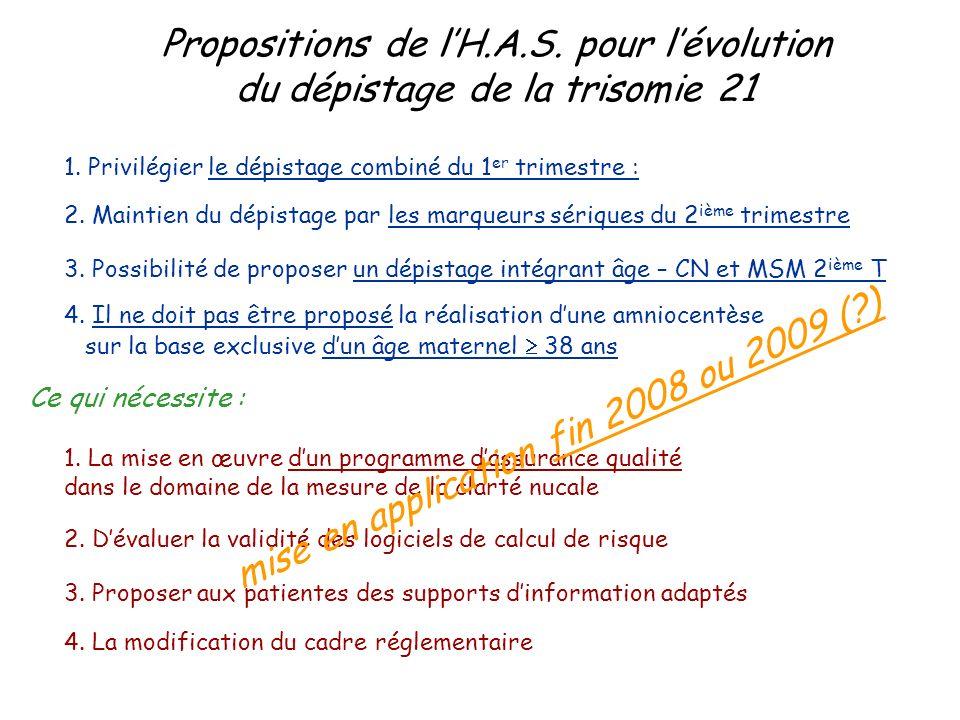 Propositions de l'H.A.S. pour l'évolution