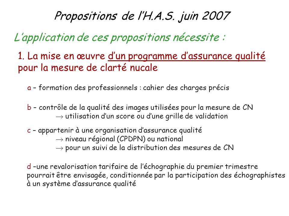 Propositions de l'H.A.S. juin 2007