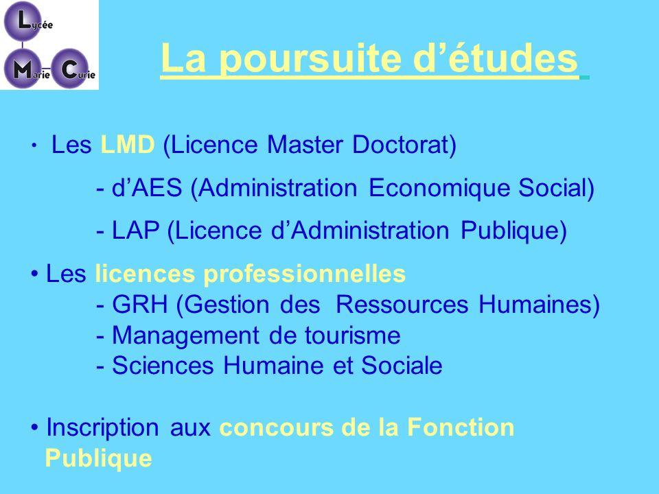 La poursuite d'études - d'AES (Administration Economique Social)