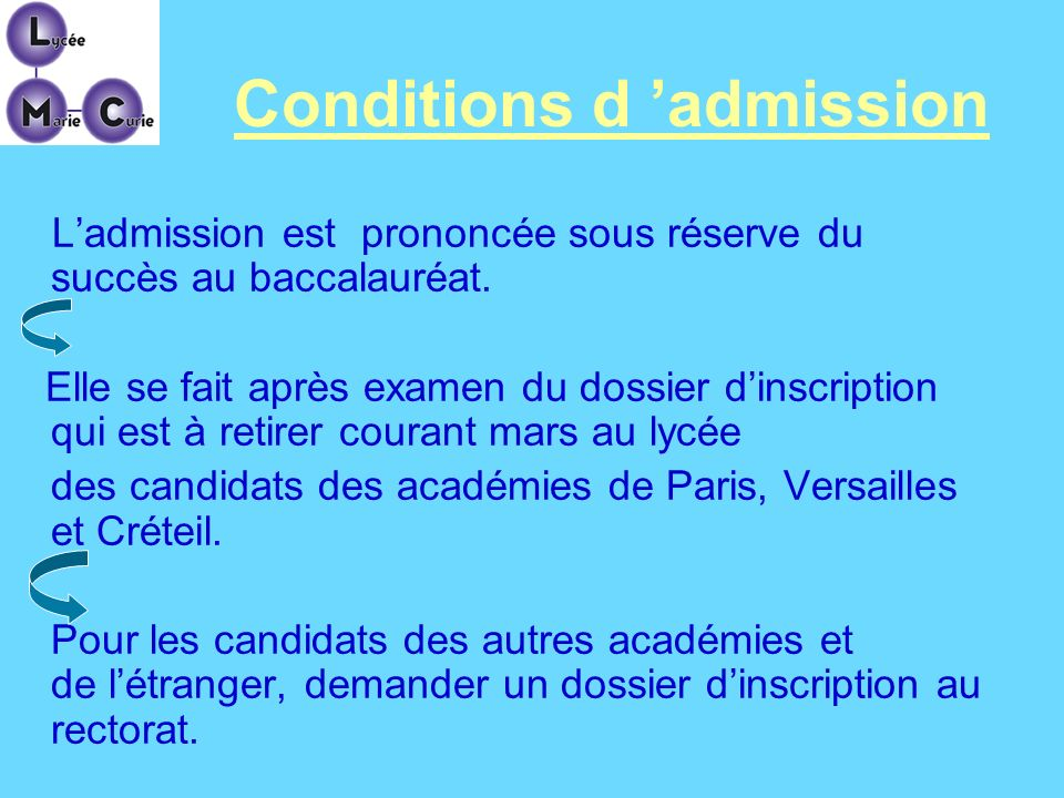 Conditions d 'admission