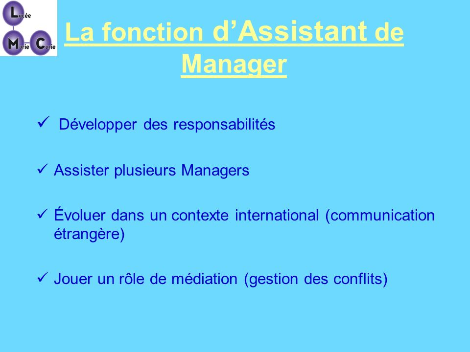 La fonction d'Assistant de Manager