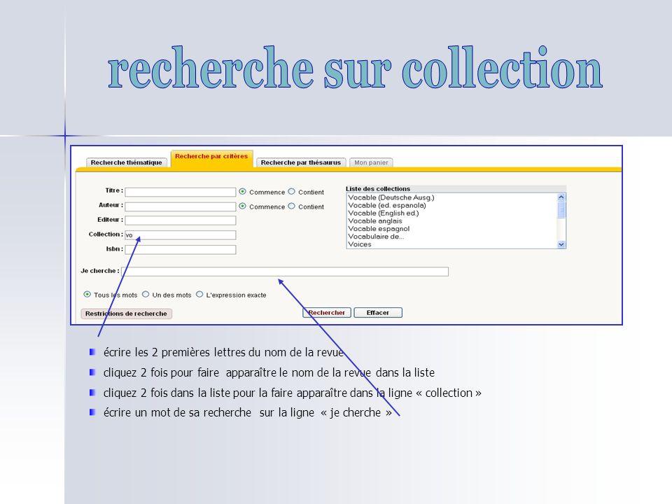 recherche sur collection