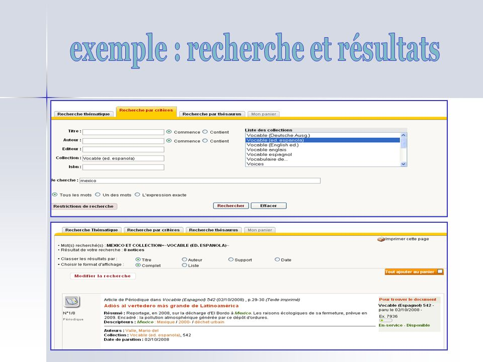exemple : recherche et résultats