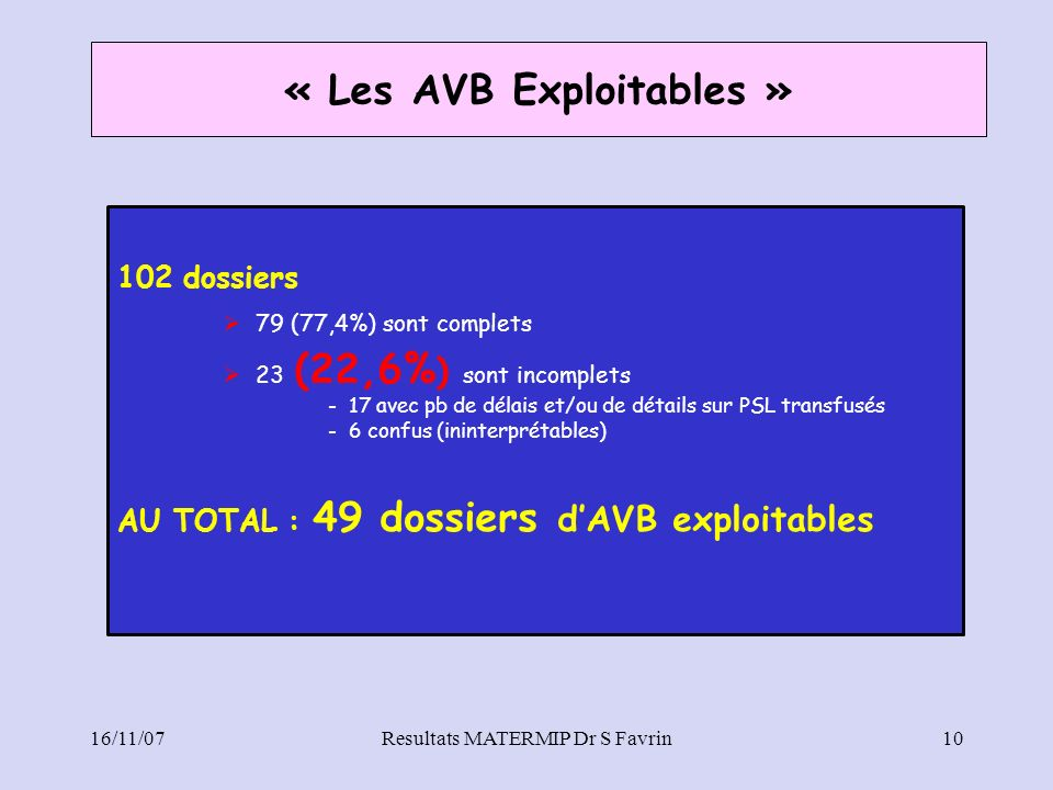 « Les AVB Exploitables »