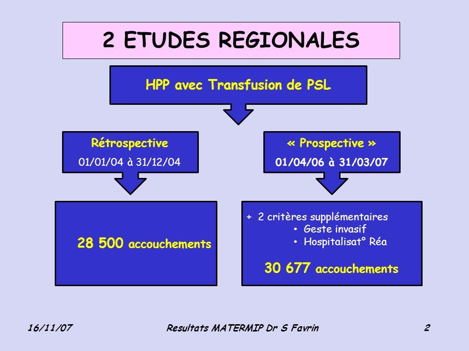HPP avec Transfusion de PSL Resultats MATERMIP Dr S Favrin