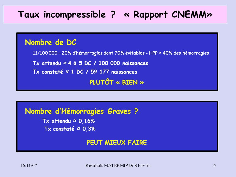 Taux incompressible « Rapport CNEMM»