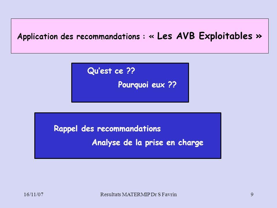 Application des recommandations : « Les AVB Exploitables »