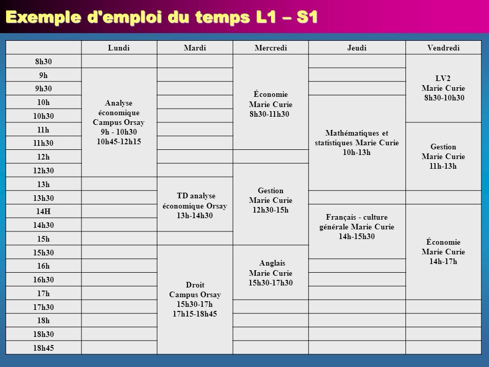 Exemple d emploi du temps L1 – S1