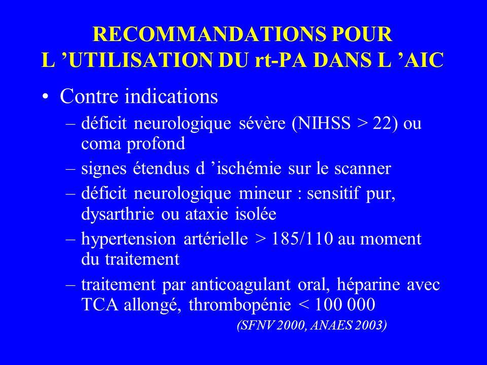 RECOMMANDATIONS POUR L 'UTILISATION DU rt-PA DANS L 'AIC