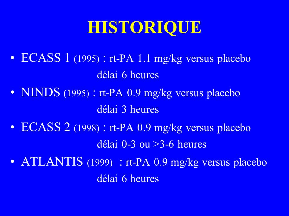 HISTORIQUE ECASS 1 (1995) : rt-PA 1.1 mg/kg versus placebo