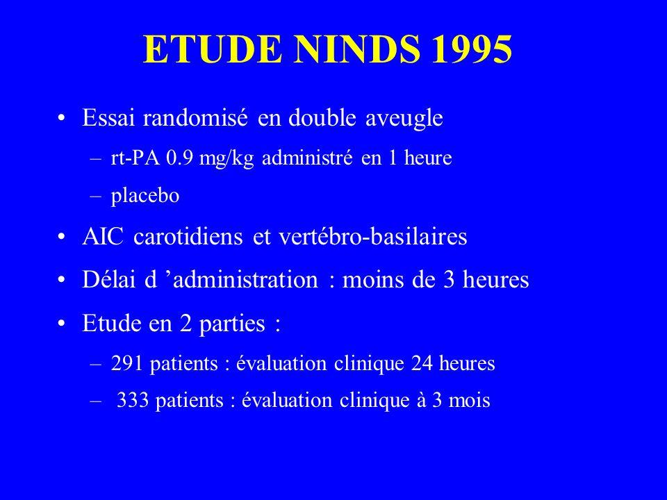 ETUDE NINDS 1995 Essai randomisé en double aveugle