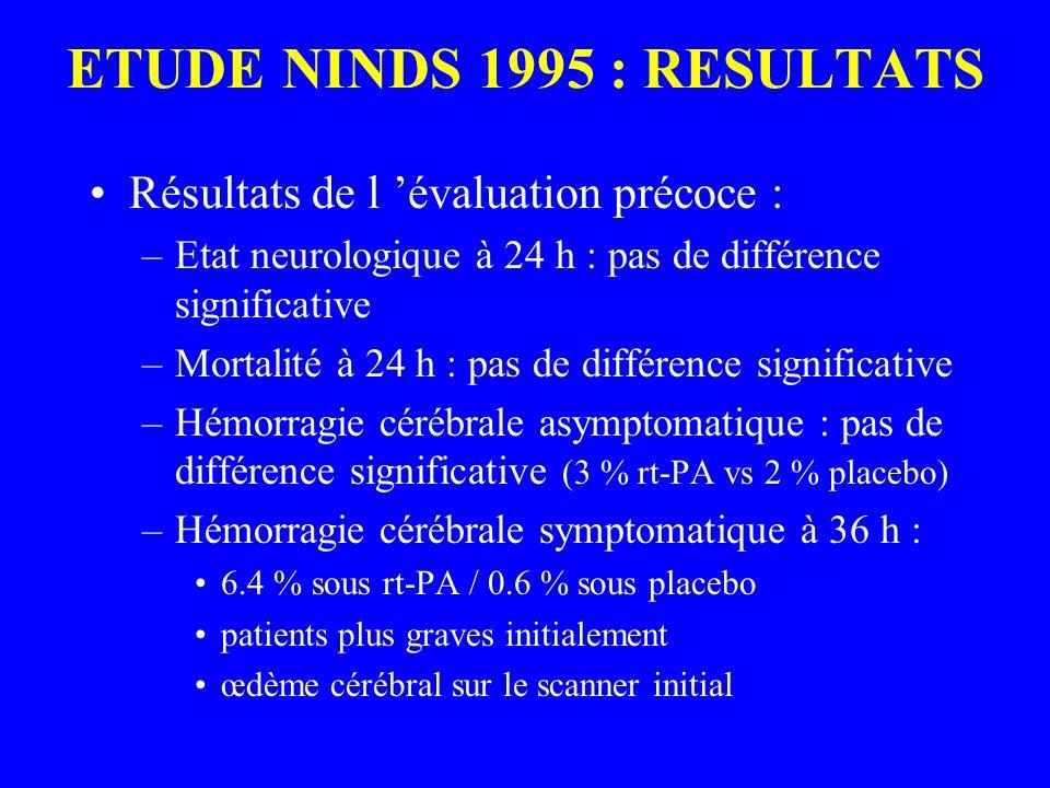 ETUDE NINDS 1995 : RESULTATS