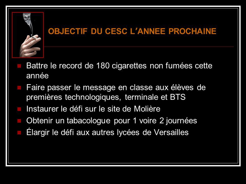OBJECTIF DU CESC L'ANNEE PROCHAINE