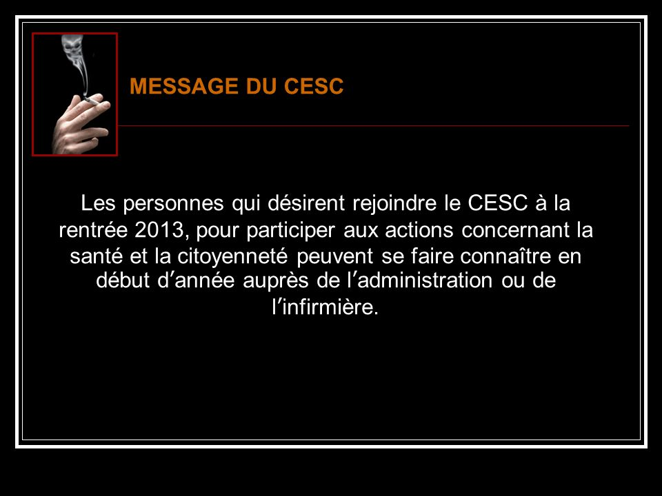 MESSAGE DU CESC