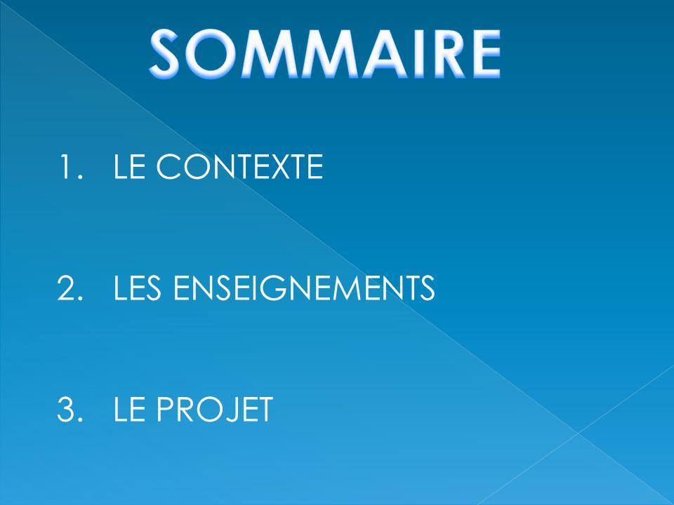 SOMMAIRE LE CONTEXTE 2. LES ENSEIGNEMENTS 3. LE PROJET