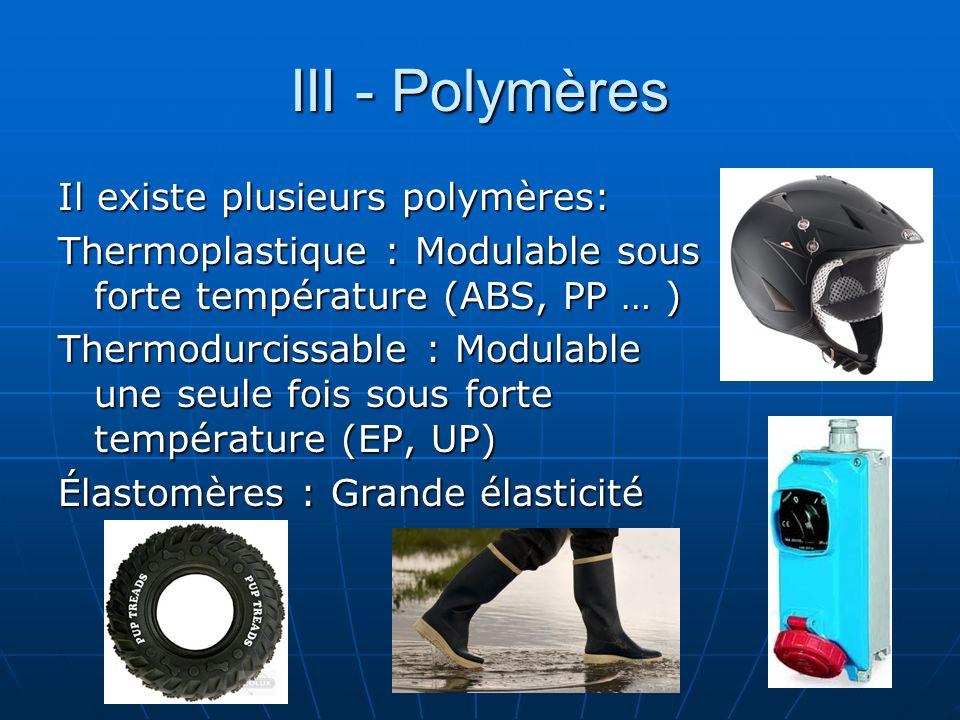 III - Polymères Il existe plusieurs polymères: