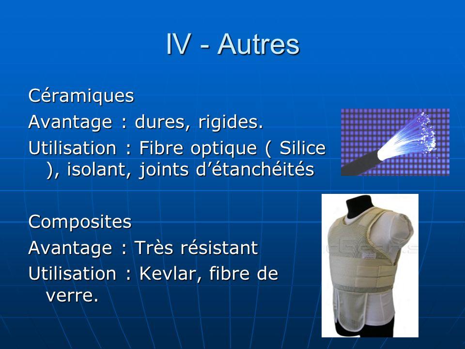 IV - Autres Céramiques Avantage : dures, rigides.