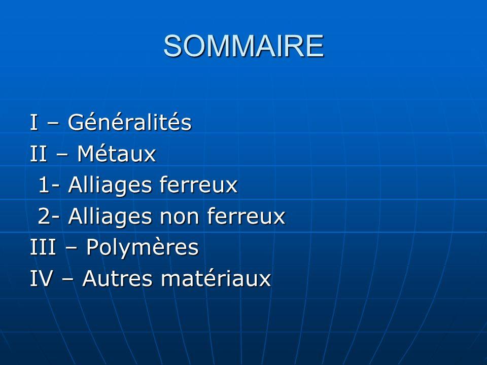 SOMMAIRE I – Généralités II – Métaux 1- Alliages ferreux