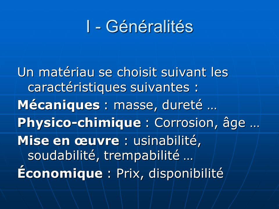 I - Généralités Un matériau se choisit suivant les caractéristiques suivantes : Mécaniques : masse, dureté …
