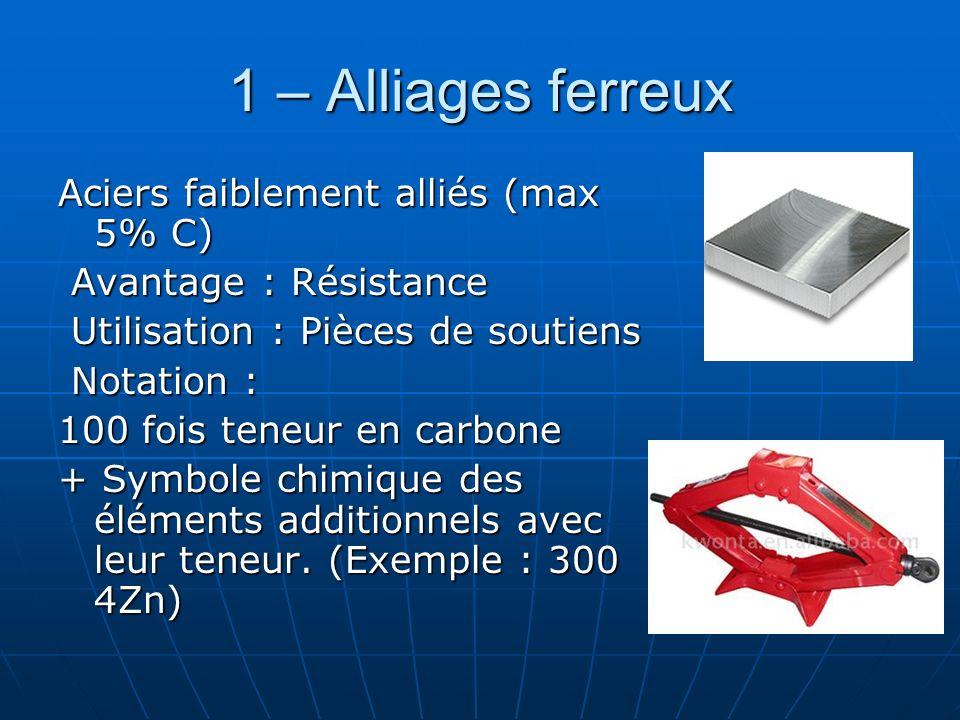 1 – Alliages ferreux Aciers faiblement alliés (max 5% C)