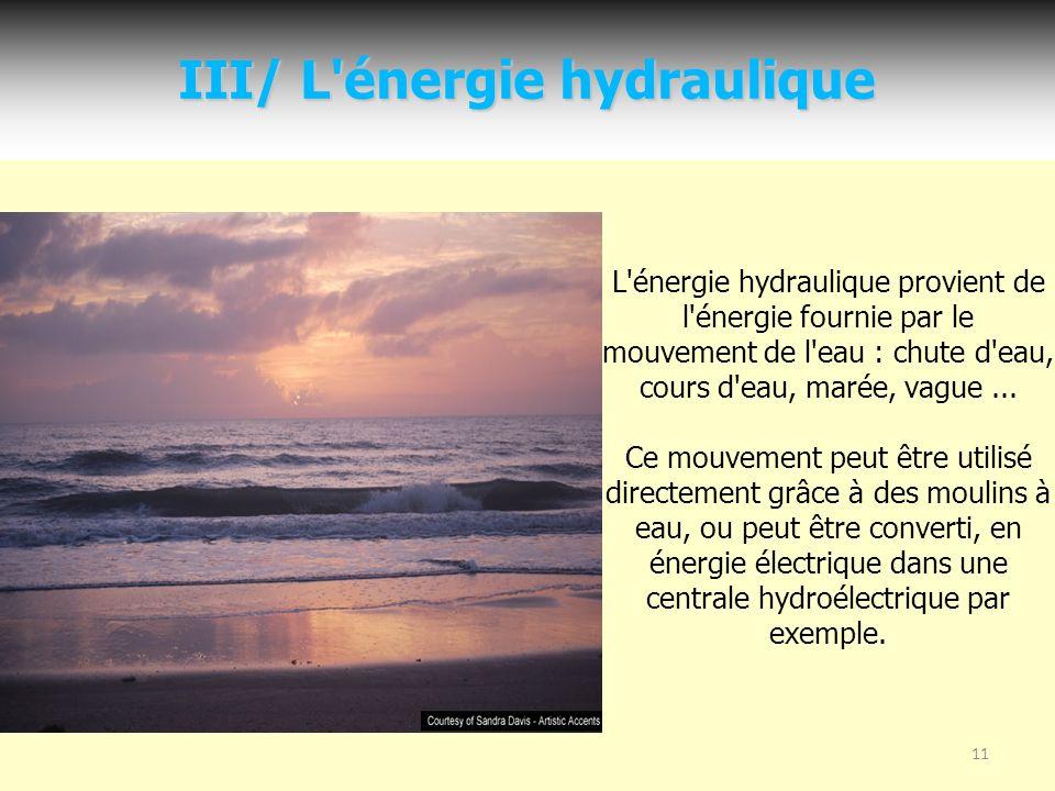 III/ L énergie hydraulique