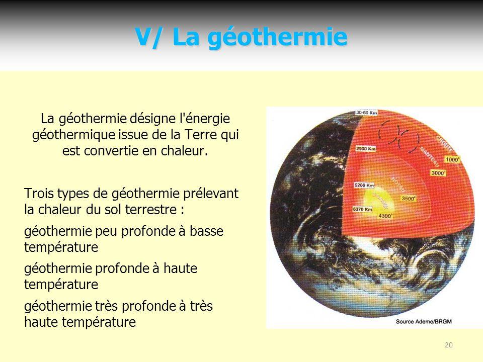 V/ La géothermie La géothermie désigne l énergie géothermique issue de la Terre qui est convertie en chaleur.